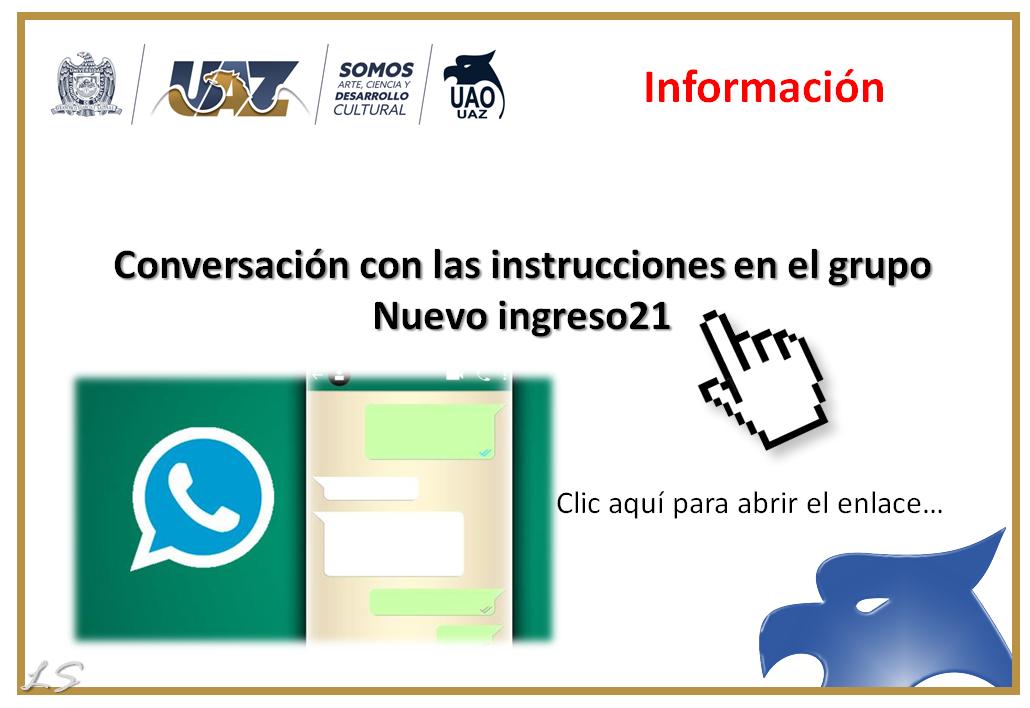 Conversación con las instrucciones en el grupo Nuevo ingreso21